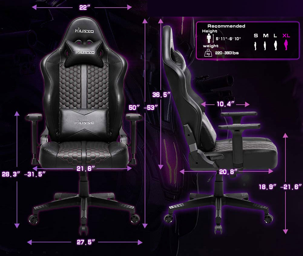 musso-gaming-chair-dimensions